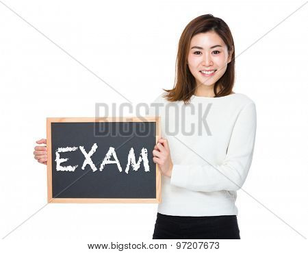 Asian woman with chalkboard and showing a word exam