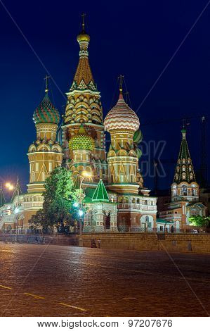 Saint Basil church at night. Moscow, Russia