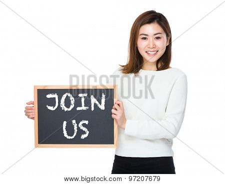 Asian woman with chalkboard and showing phrase of join us