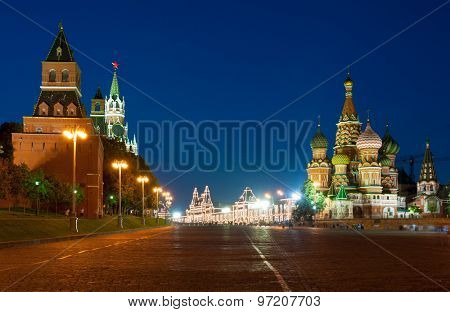 Kremlin, Red Square and Saint Basil church at night. Moscow, Russia