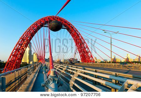 Zhivopisny suspension bridge landscape in Moscow, Russia
