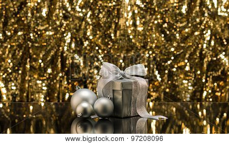 Silver Present And Christmas Tree Baubles