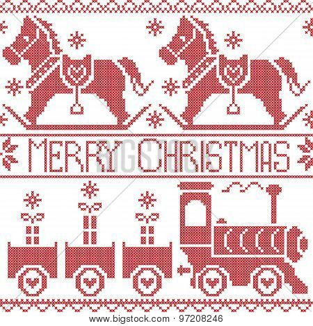 Merry Christmas Scandinavian seamless Nordic pattern with gravy train, Xmas gifts, hearts, rocking