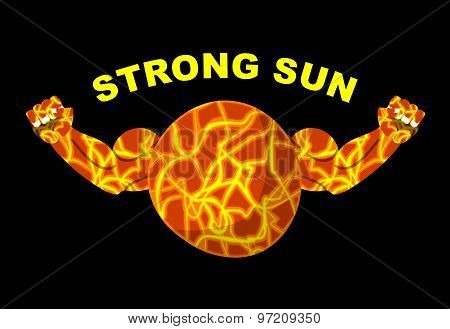 Strong Sun. Planet Bodybuilder With Big Muscles. Vector Illustration