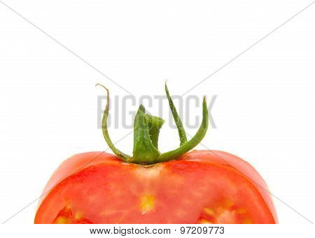 Close up view of single tomato with space for copy text isolated on a white background