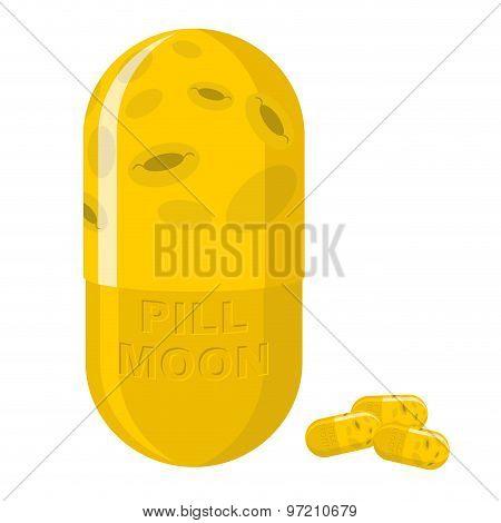 Moon Pill. Fantastic Medication From Disease. Vector Illustration
