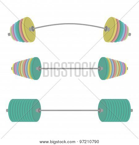 Athletic Barbell With Colored Discs. Sports Set Projectile. Vector Illustration