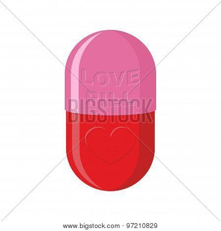 Pill Love Heart Symbol. Pink Tablet For Love. Vector Illustration Of Medicines.