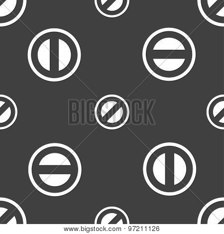 Cancel Icon Sign. Seamless Pattern On A Gray Background. Vector