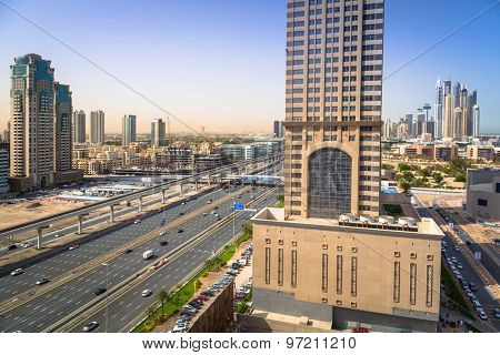 DUBAI, UAE - 2 APRIL 2014: Technology park of Dubai Internet City at sunrise, UAE. Dubai Internet City is created by the government free economic zone for global information technology firms.