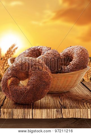 Bagel-Turkish bagel with natural background