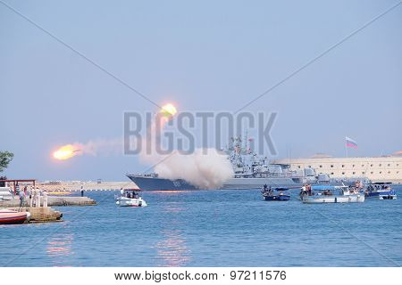 Sevastopol, Crimea, July, 26, 2015: during firing practice on parade in honor of Day of Fleet in Sevastopol one of rockets collapsed at start