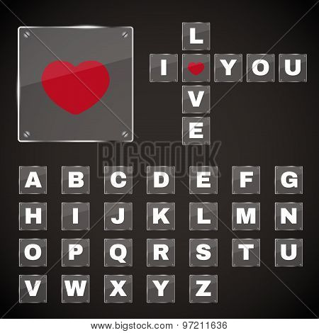 English alphabet and a red heart On a sheet of glass vector