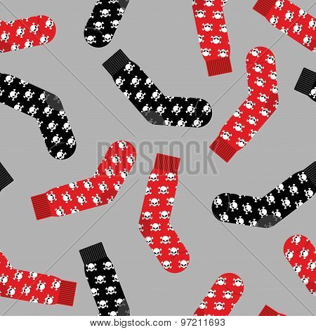 Black And Red Socks With Skull Seamless Pattern. Vector Background Of Clothing Accessories For Hallo