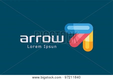 Vector arrow abstract logo template. Up, shape symbol, icon, creative idea and flow, dynamic or movi
