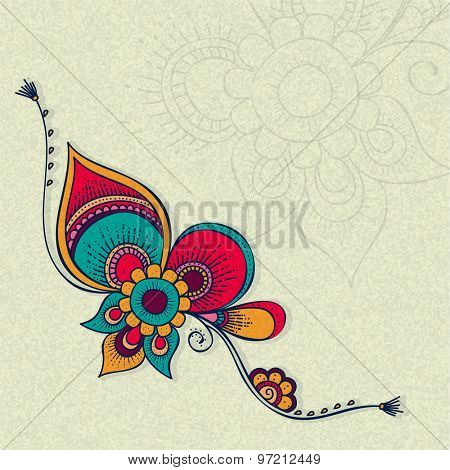 Beautiful creative rakhi on grungy background for Indian festival of brother and sister love, Raksha Bandhan celebration.