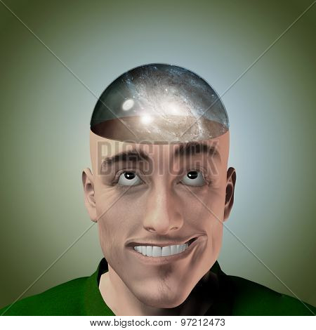 Mans head with galaxy therein