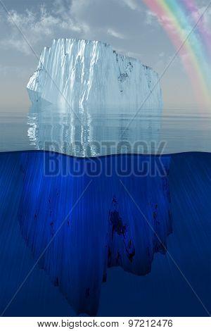 iceberg and rainbow at sea 3D Illustration