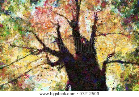 Autumn Trees Canopy Painting composed of Circular Forms