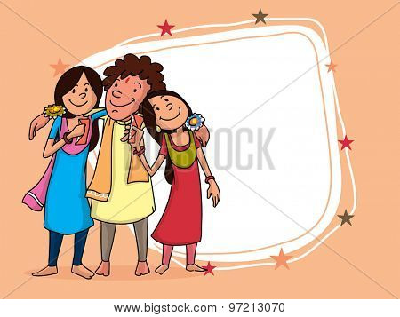 Cute brother and sister hugging each other with blank frame for Indian festival, Raksha Bandhan celebration.