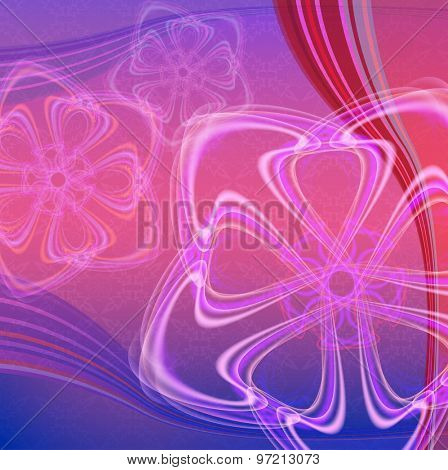 Abstract pink and violet background with color waves.