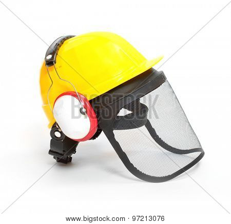 Protective helmet, earmuffs and face shield isolated on white background. Protection for lumberjacks, carpenters and construction workers.