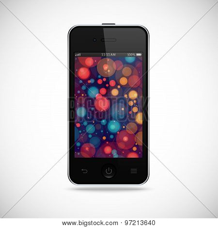 Realistic Detailed Smartphone With Touch Screen Isolated On A Gray Background. Stock Vector