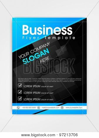 Creative professional business flyer, template or brochure design in blue and black color.
