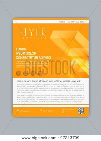Stylish business flyer, banner or template design in orange and white color for your company.