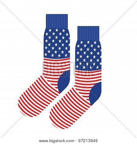 Usa Patriot Socks. Clothing Accessory Is An American Flag. Vector Illustration