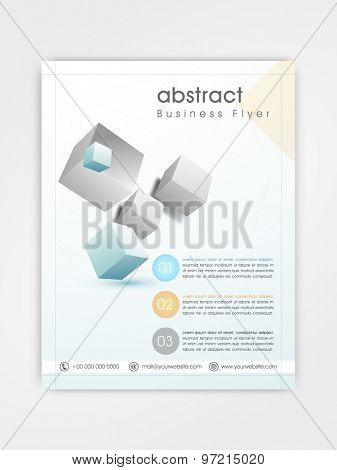Professional business flyer, template or brochure design with shiny cubes.