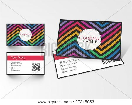 Colorful business or visiting card design with front and back side presentation on gray background.