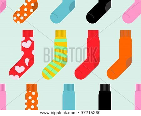 Colorful Socks Seamless Pattern. Vector Accessory Clothing Background.