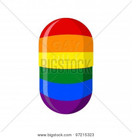 Gay Pill. Pharmaceutical Capsule With Lgbt Flag. Vector Illustration Medical Tablet