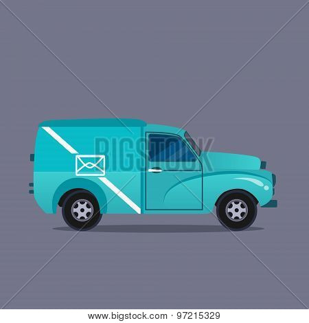 Delivery blue van icons collection