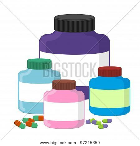 Set Sport Nutrition Supplement Containers Vector Illustration. Supplements For Bodybuilding.