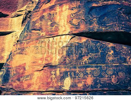 Indian petroglyphs on a rock face near Cottonwood, Arizona