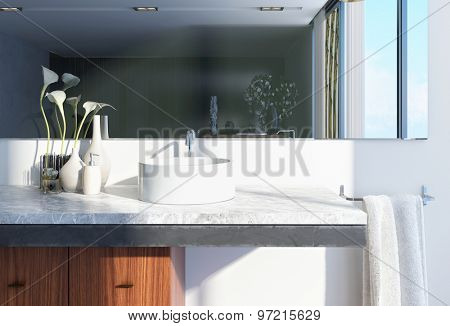 Modern Architectural White Home Washroom Interior Design with Round Basin, Large Mirror and Vases with Flowers. 3d Rendering.