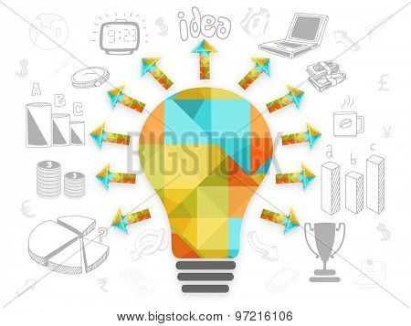 Creative polygon light bulb with various infographic elements on gray background for your business reports and professional presentation.