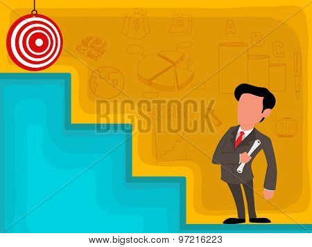 Illustration of a businessman stepping up to his successful goal on top of the stairs.
