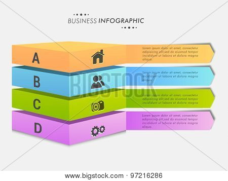 Creative colorful Business Infographic layout with web icons and alphabets on gray background.
