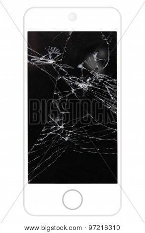 Black cell phone with broken lcd screen