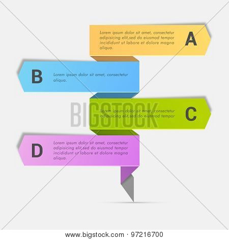 Colorful Business Infographic arrows with alphabets on gray background.