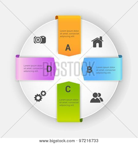 Stylish Business Infographic layout with colorful ribbons and web icons on gray background.