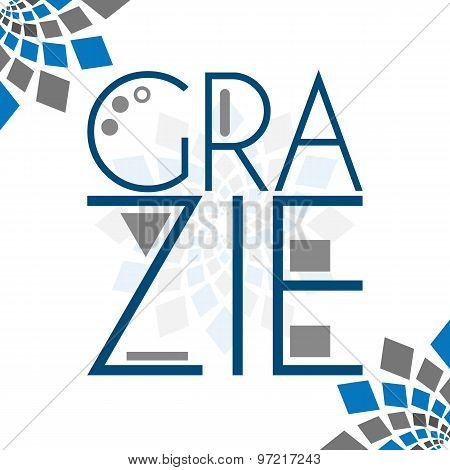 Grazie Text Blue Grey Squares Elements