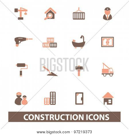 construction, real estate isolated flat icons, signs, illustrations set, vector for web, application