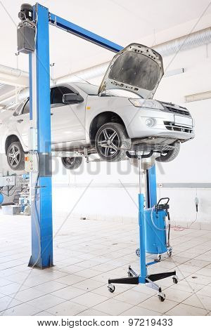 Russia, Kaluga, July, 8, 2015: Interior of a car repair station in Kaluga, Russia