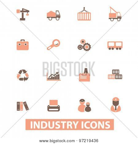 industry, factory isolated flat icons, signs, illustrations set, vector for web, application