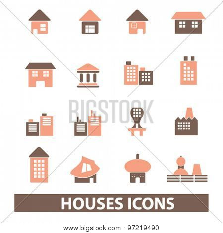 houses, building, real estate isolated flat icons, signs, illustrations set, vector for web, application