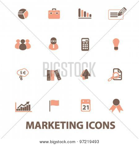 marketing, management, presentation isolated flat icons, signs, illustrations set, vector for web, application